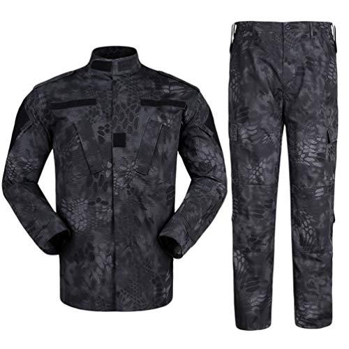 Zhiyuanan Uomo Tattico Camouflage Suit 2 Pezzi Set Outdoor Caccia Trekking Campeggio Combat Militare Giacche da Trekking Impermeabili + Pantaloni Mimetico Abbigliamento Nero Pitone Modello M