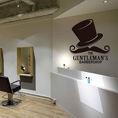 Dongwall The Gentleman Barbershop Wandtattoos Vinyl Wandaufkleber Friseur Schaufenster Dekor Friseursalon Haarschnitte Bärte Hut wandbild 42 * 46 cm