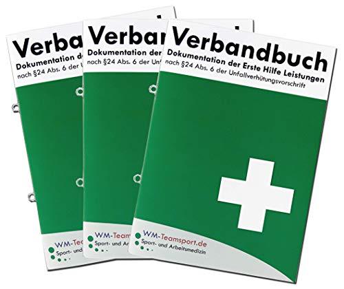 3er Pack Verbandbuch Erste Hilfe - Heraustrennbare Seiten nach DSGVO Verbandsbuch DIN A 5 nach § 24 Abs. 6 der Unfallverhütungsvorschrift mit Ringösen