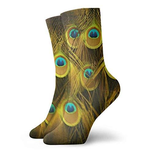 Calcetines de vestir para hombre, color dorado, plata, plumas de pavo real, de poliéster, divertidos, 30 cm