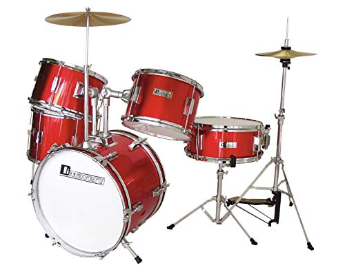 DIMAVERY JDS-305 Kinder Schlagzeug, rot   5-teiliges hochwertiges Kinderschlagzeug