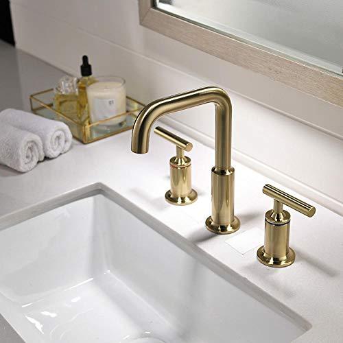 CZOOR geborsteld goud afwerking 8 inch brede badkamer lavendel wastafel kraan mixer tap dek gemonteerd 2 handgrepen