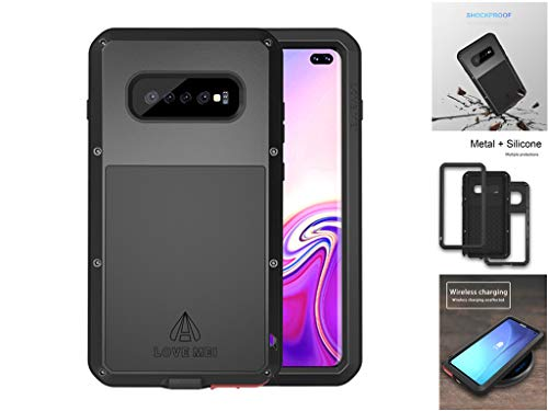 LOVE MEI Compatible con la Funda de Metal Samsung Galaxy S10 Plus, [con Vidrio Templado] Cubierta Resistente Resistente a Golpes, Anti-caída/Anti-Nieve/Antideslizante/Resistente (S10 Plus, Negro)