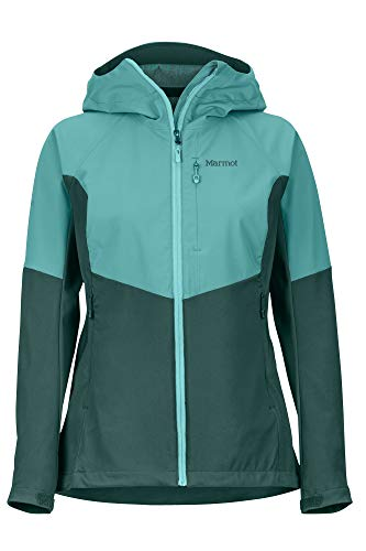Marmot Wm\'s ROM Jacket Softshell, Chaqueta Outdoor, Anorak, Repelente al Agua, Transpirable, Mujer, Botanical Garden/Deep Jungle, XS