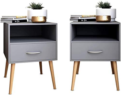 Joolihome Wood Bedside Table Set of 2 Cabinet Storage Nightstands 1 Drawer with Metal Handle, 42 x 42 x 56 cm (Grey, 2)