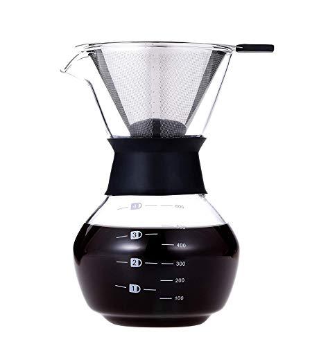 Luckyies Manuell Pour Over Kaffeebereiter Kaffeekanne Karaffe mit Dauerfilter aus Edelstahl (600ml)
