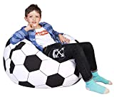 Lukeight Stuffed Animal Storage Bean Bag Chair Cover for Kids and Adults, Storage Bean Bag with Zipper for Organizing Kids Stuffed Animals, Bean Bag Cover (No Beans), X-Large/Football Pattern