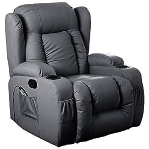 Pro D T 10 in 1 Leder-Liegestuhl, gedreht, drehbar, beheizt, mit Armlehne, drehbar Schwarz