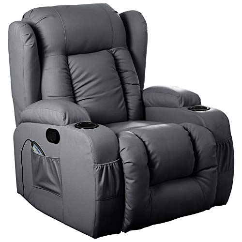 D PRO T 10 IN 1 WINGED LEATHER RECLINER CHAIR ROCKING MASSAGE SWIVEL HEATED GAMING ARMCHAIR (Black)