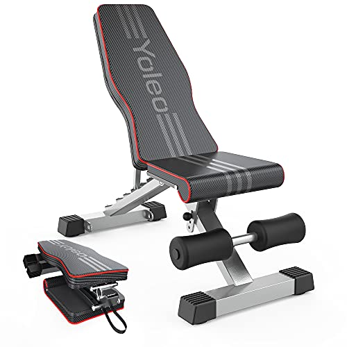 YOLEO Adjustable Weight Bench for Full Body Workout; Foldable Bench Press Bench of Home Gym Strength Training; Incline Decline Flat Utility Workout Bench with Quick Folding& Fast Adjustment (Black)