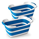 Stylin' Home 2-Pack Plastic Collapsible Pop Up Laundry & Storage Baskets, Smaller Size Loads