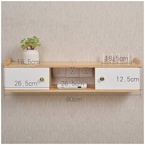 LZG wandbevestiging zwemdock media plank met deur voor kabelbox/wifi-router/remotes/dvd-speler, houten tv-console, opslagruimte hoed voor huis en kantoor