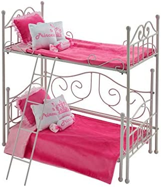 Badger Basket Metal Doll Loft Bed with Daybed and Bedding for 18 inch Dolls White Pink 60003 product image