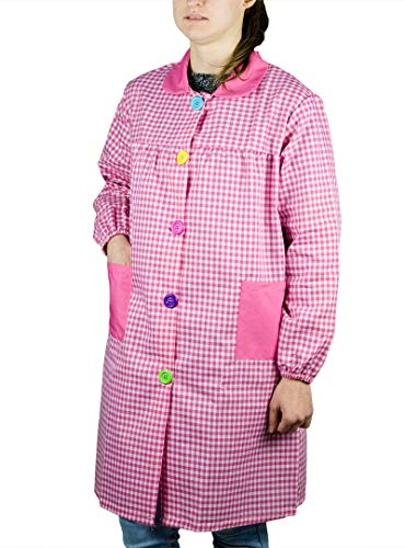 KLOTTZ - BABI PROFESORA CUADROS BATA ESCOLAR mujer color: FUCSIA talla: S/M