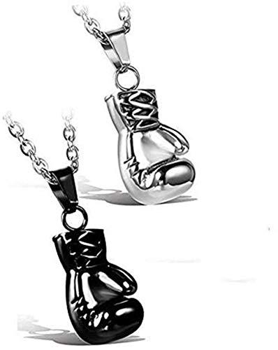 JewelryWe Collar para Hombre, Acero Inoxidable Golden para Hombre Guantes de Boxeo Colgante Collares Motorista de Carreras con 55,88 cm Cadena, Plateado y Negro Dorado,Regalos para Navidad Cumpleaños