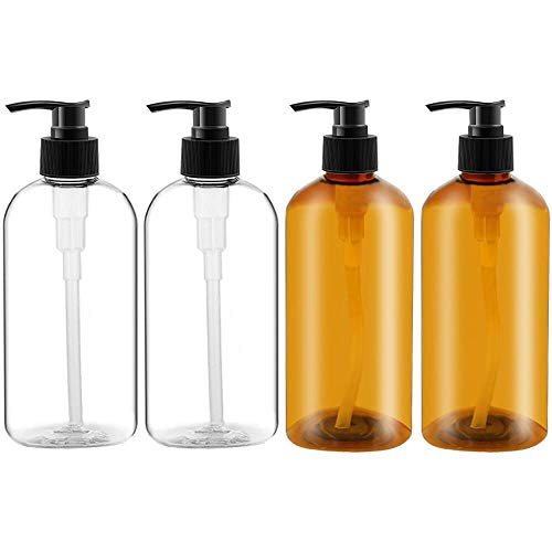 Empty Plastic Pump Bottles 4 Pack 10oz/300ml Portable Clear Small Cylinder Shampoo Lotion Pump Bottle Dispenser Durable Refillable Containers for Liquid Soap, Massage Oil 2 Colors(Clear and Amber)