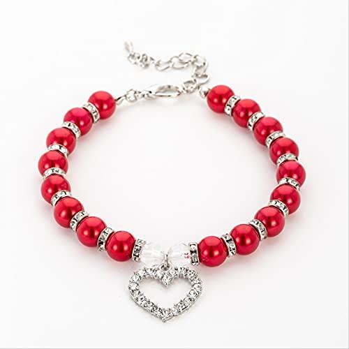 Collar de perlas para mascotas Collar para gatos y perros, se puede utilizar en interiores y exteriores, color rojo