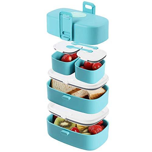 Wagindd Fiambrera a prueba de fugas, sin BPA, con 4 compartimentos sellados para niños y adultos