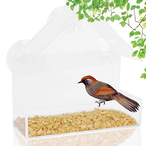 Colmanda Fenster Vogelfutterhaus, Vogelhaus Fenster Saugnapf Groß Transparent Fenster Kreative Acryl Futterspender Superstarken Saugnäpfen, Vogelfutterstation für Kleine bis Mittelgroße Vögel