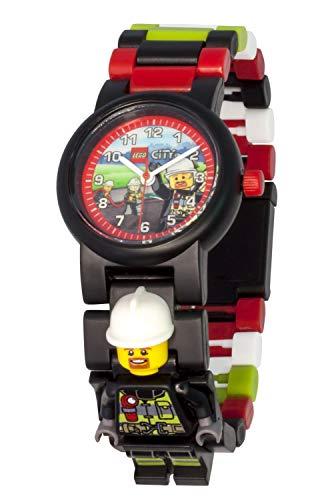Armbanduhr Lego City - Firefighter, inklusive 12 zusätzlichen Armbandgliedern, Lego Minifigur im Armband integriert, analoges Ziffernblatt, kratzfestes Acrylglas