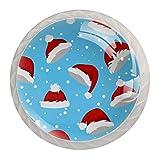 Tirador de manijas de cajón para el hogar, cocina, tocador, armario-Sombreros de Santa y nieve en azul