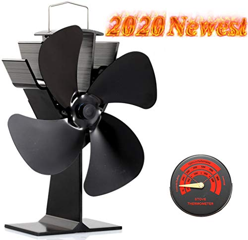 Newest Upgrade Wood Stove Fan, CRSURE SF/444 Heat Powered Fan 4-Blade for Wood Burning Stove | Log Burner | Fireplaces, Wood Burner Fireplace Fan for Stoves with Thermometer