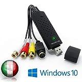 TechSide Convertitore VHS contatti Dorati | Analogico Digitale | Compatibile con Windows 1...