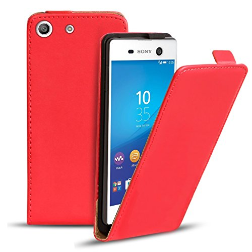 Conie BF38766 Basic Flip Kompatibel mit Sony Xperia M5, PU Leder Hülle Cover Klapphülle für Xperia M5 Tasche Rot
