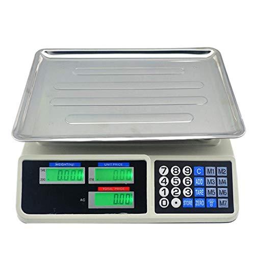 AZZ 30kg / 5g zeer nauwkeurige elektronische tellweegschaal voor goederen prijzen, industriële weegschaal (kleur: wit, maat: 30kg / 5g)