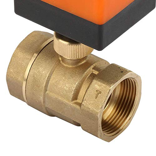 Válvula de bola motorizada, válvula de bola de latón DC 12V DN32 G1-1/4'conexión roscada Válvula de control de flujo de 2 vías y 3 cables