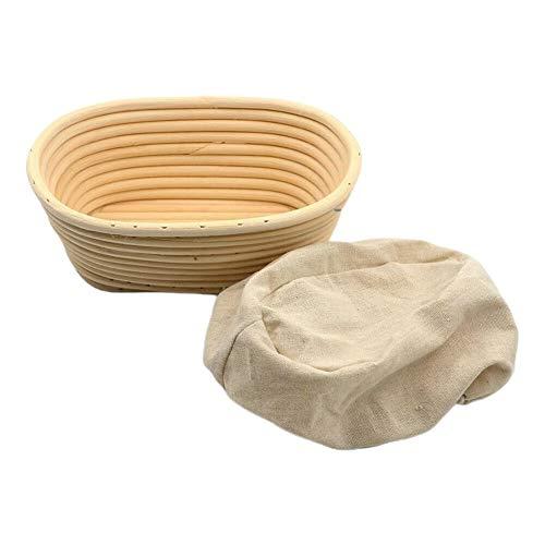 Elibeauty ovaler Brotkorb, Rattan-Banneton, Brotform, Größe S/M/L/XL, hält Teig, saurer Teig, handwerkliches Brot, mit Leineneinsatz, N/A, M