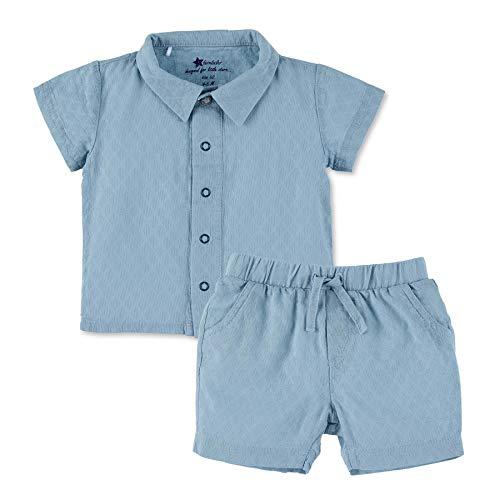 Sterntaler Jungen Set mit Kurzarm-Hemd und kurzer Hose, Mit lustigem Tier-Motiv, Alter: 4-5 Monate, Größe: 62, Blau