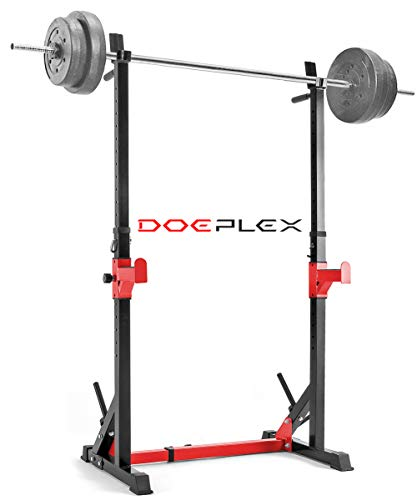 Doeplex [2021 Upgrade Multi-Function Adjustable Squat Rack Exercise Stand - 550-Pound Capacity (Black/Red)