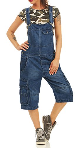 Jet Lag Damen Loose Fit Jeans Overall A Shorts Kurze Latzhose mit Seitentaschen Navy XXL