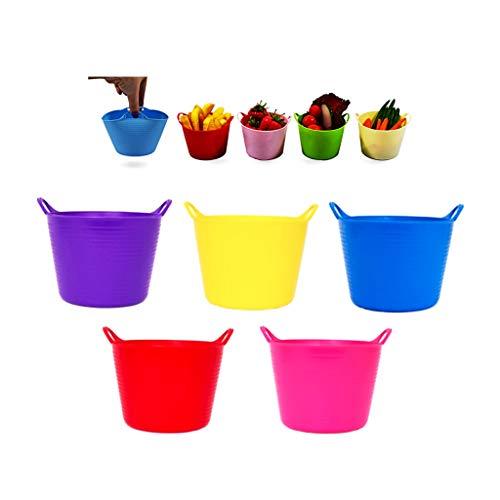 BricoLoco Lote 5 uds. Mini Cubo Flexible Colores Surtidos Goma Multiusos. Organizador pequeñas Cosas, Tornillos, Pinzas, Elementos Costura, Bol para tapeos, panchitos, pistachos Maceta o semil