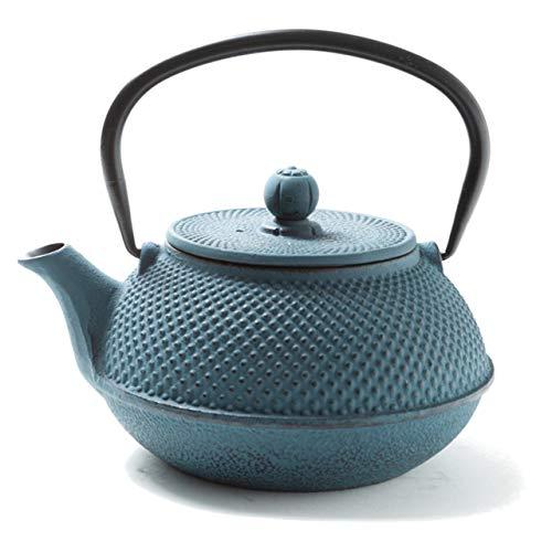 Tealøv Arare THEIERE Fonte 800 ML - Théière en Fonte avec Infuseur - Entièrement émaillée de l'intérieur - Prépare Une Tasse de Thé Parfaite – Design Authentique Japonais à Picots (Bleu)
