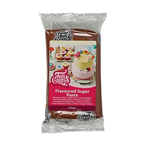 FunCakes Fondant de Sabor Choco, textura suave, fácil de extender, pasta de azúcar, color marrón chocolate, perfecto para tartas, cupcakes y galletas. Halal, Kosher y sin gluten. 250 g