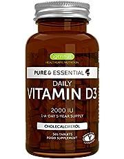 Pure & Essential Daily Vitamine D3, optimale dosis op lange termijn, 2000 IE, jaar voorraad, vegetarisch, 365 kleine tabletten