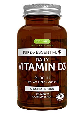 Pure & Essential Vitamina D3 Quotidiana 2000 IU, fornitura per 1 anno, vegetariana, 365 compresse