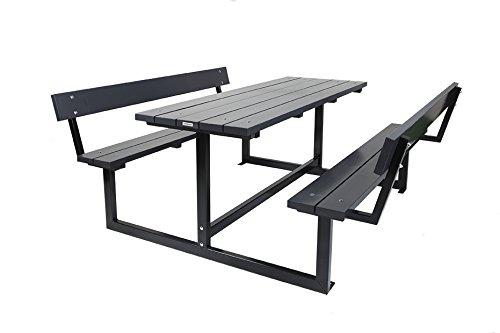 Picknicktisch Design Liverpool anthrazit 180 cm, mit Rückenlehne, Kiefernholz mit Stahlgestell