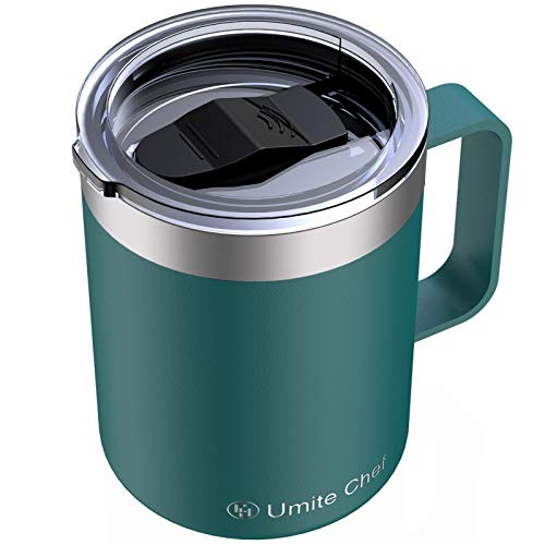 Umite Chef Stainless Steel Insulated Coffee Mug Tumbler with Handle, 12 oz Double Wall Vacuum Tumbler Cup with Lid Insulated Camping Tea Flask for Hot & Cold Drinks(Dark Green)