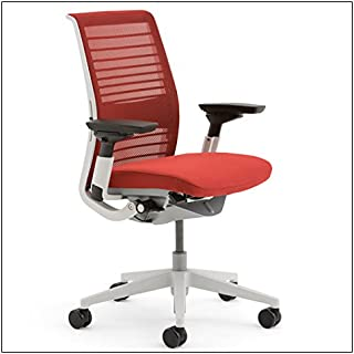 Steelcase Think Chair (R) - 3D Knit Back by Steelcase, 3D Knit color = Scarlet; seat fabric = Cogent Scarlet; frame=Seagull