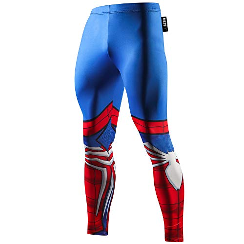 NESSFIT Superhero Herren Kompressions-Leggings Workout Base Layer Fitness Thermo Hose Laufen Lange Tights Gr. L, Spiderman Pro Pants