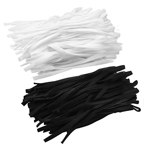 200pcs Elastic Bands Elastic Cord with Adjustable Buckle White Elastic Cord Bands Flat Elastic Cord Black Earloop Elastic Cord Stretchy Elastic Cord 5mm Elastic Band for Sewing DIY Crafts Making