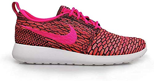 Nike Roshe One Flyknit Damen Laufschuhe - schwarz rosa Power White total orange 004, 40.5
