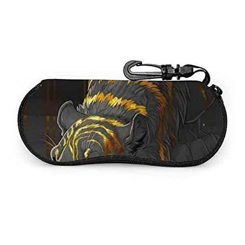 Tigre Con Rayas Doradas Gafas De Sol Caso De Gafas De Sol Casos Con Clip De Cinturón Cremallera Portátil Gafas Bolsa
