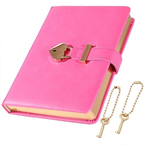 cofumi 日記帳 鍵付き 手帳 B6 横罫8mm 予備鍵 PUレザーカバー おしゃれ ギフト 女の子 (ローズレッド)