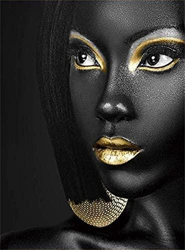 THEYANG DIY 5D Kits de Pintura de Diamante Adulto, Diamond Painting Square Full Drill Crystal Rhinestone Bordado Punto de Cruz Art Craft Decoración de Pared del Hogar Mujer africana 50x70cm T1375