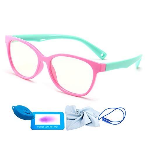 Blue Light Blocking Glasses Kids, Computer Gaming Glasses Girls Boys Age 2-7 Anti Glare& Eyestrain& UV Ray Filter (Pink-Cyan 121mm)