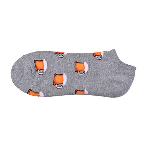 UNUStyle Nieuwigheid Gedrukte Sokken, Gelukkig Nieuwigheid Bier Patroon Katoen Onzichtbare Enkel Lage Boot Sokken Fancy Funky Cool Zomer Ademende Comfortabele Korte Sokken Unisex Vrouw Man